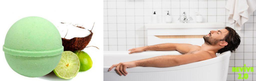 Man in bath using cbd bath bomb to relax